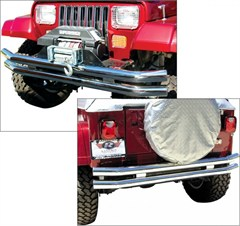 Rampage Products Double Tube Bumper, Front/Rear without Hoop, Stainless Steel, 76-06 Jeep CJ & Wrangler