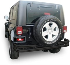 Rampage Rear Double Tube Bumper-Jeep Wrangler JK, Textured Black