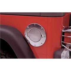 Non-Locking Polished Chrome Billet Style Gas Cover by Rampage Products for Jeep Wrangler TJ and Unlimited (97-06)