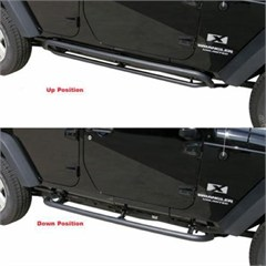 Rampage Products SRS Side Bar Retractable Rockslider Step Jeep JK 2 DR (2007-2014) Textured finish