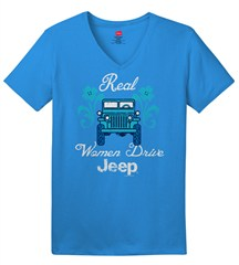 Real Women Drive Jeep, Aquatic Blue Women's V-Neck Tee