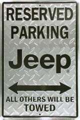 Reserved Parking Jeep Metal Sign (Diamond Plate)