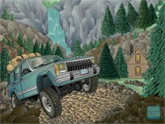 Jeep Greeting Cards: A Jeep Cherokee, A Waterfall, A Cabin