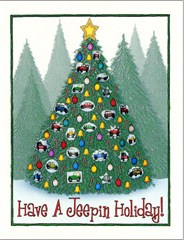 """Jeep Ornament Christmas Tree"" Holiday Cards"