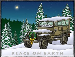 "Military Jeep ""Peace on Earth"" Holiday Cards"