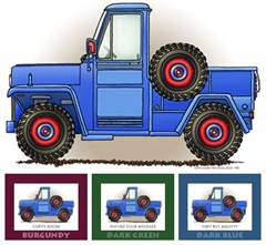 "Little Wheelers ""Blue Pick-Me-Up Truck""  Matted Personalized Print"
