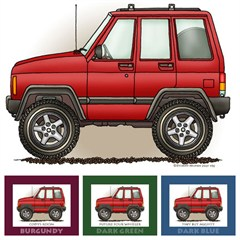 "Little Wheelers ""Red Rugged Rocker"" Matted Personalized Print"