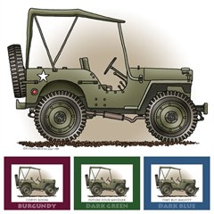 "Little Wheelers ""G.I. Joemobile"" Matted Personalized Print"