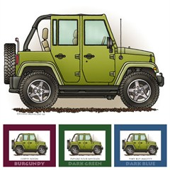 "Little Wheelers ""Green Monster"" Matted Personalized Print"