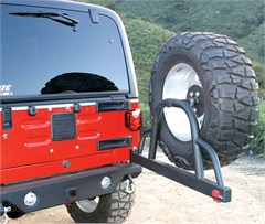 Rampage Products Rear Recovery Bumper, with Swing-Away Tire Carrier, '87-'06 Wrangler & Unlimited (lights sold separately)