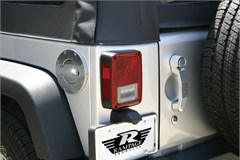 Billet Style Locking Gas Cover, (2007-2014) Jeep Wrangler, Polished Billet, Locking Door Design w/Keys