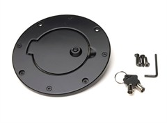 Billet Style Gas Cover, (2007-2014) Jeep Wrangler, Black, Locking Door Design w/Keys