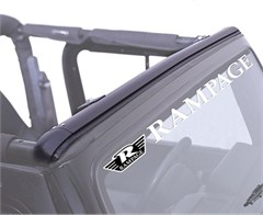 Windshield Channel For Jeep Wrangler 1997-06, No Drill, Black, Rampage Products