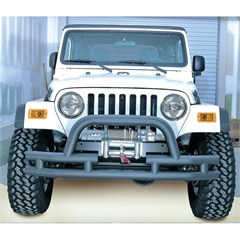 Black Textured Front Tube Bumper w/Winch Space for Jeep CJ, YJ, TJ, LJ