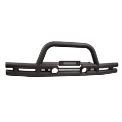 Textured Black Front Tube Bumper With Winch Mount for Jeep Wrangler JK (2007-2014)