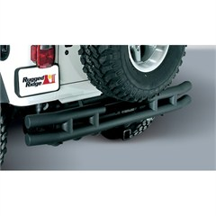Black Textured Rear Tube Bumper With Hitch for Jeep Wrangler YJ (1987-1995), TJ (1997-2006), and LJ (2004-2006)