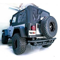 "Black Textured RRC Rear Bumper With 2"" Receiver Hitch for Jeep Wrangler YJ, TJ, and LJ (1987-2006)"
