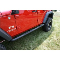 "Side Tube Step Pair Wrangler JK 4D 2007-2016 3"" Round Textured Black"