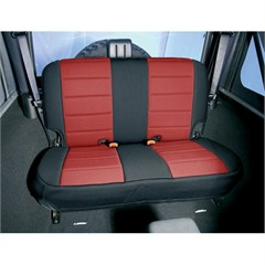 Red and Black Neoprene Rear Seat Covers for Jeep Wrangler TJ (1997-2002)