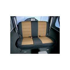 Tan and Black Neoprene Rear Seat Cover for Jeep Wrangler TJ (1997-2002)