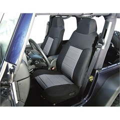 Black/Gray Fabric Front Seat Covers - Jeep Wrangler TJ 2003-2006