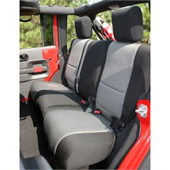 Black and Gray Neoprene Rear Seat Cover for 2 Door Jeep Wrangler JK (2007-2014)