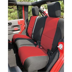 Black/Red Neoprene Rear Seat Cover-Jeep Wrangler JK 2D 2007-2015