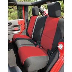 Black/Red Neoprene Rear Seat Cover-Jeep Wrangler JK 4D 2007-2014