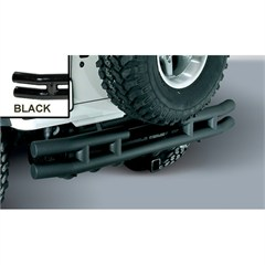 Black Rear Tube Bumper With Hitch for Jeep Wrangler YJ (1987-1995) and TJ (1997-2006)
