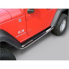 Pair of 3 Inch Round Stainless Steel Rugged Ridge Tube Steps for Jeep Wrangler JK 2 Door (2007-2014)