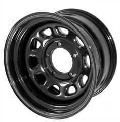 Steel Wheel D Window , Black, 15X10, 5 On 4.5 Bolt Pattern, 3.75 Backspacing, Jeep Wrangler (Yj) 87-95, (Tj) 97-06, Cherokee (Xj) 84-01