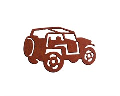 Rustic Metal Jeep Magnet- Topless with Rollbar