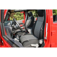 Seat Cover Front Black / Gray Jeep Wrangler Jk 07-10 With Abs Flap