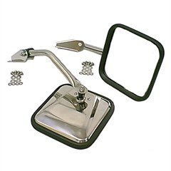 Side Mirror Pair, 1955-1986 (CJ) With Convex Mirror Glass For Passenger Side, Stainless