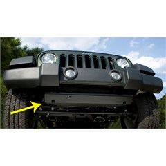 Steering Component Skid Plate Wrangler JK 2007-2017 Black Rugged Ridge