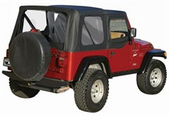 Soft Top, OEM Replacement, w/ Door Skins, clear windows, 97-06 Jeep Wrangler, Black Diamond