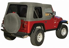 Soft Top, OEM Replacement, w/ Door Skins, 97-06 Jeep Wrangler, Khaki Diamond w/ Tint Windows