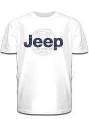 Blue Jeep Logo + Jeep Wrangler JK Men's White Tee-Shirt