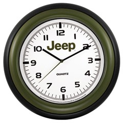 Jeep Wall Clock - Round, Green, White & Black