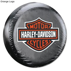 Harley Davidson Tire Cover - Orange/White Bar and Shield