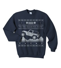 """Tis the Season"" Christmas Sweater Print Youth Crewneck in Navy"