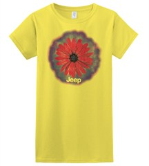 Big Red Daisy / Jeep Logo, Yellow Junior's Tee, Short Sleeve