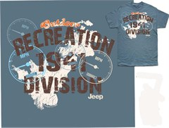 CLOSEOUT (4XL Only) Jeep Recreation 1941 Division Men's Blue Tee-Shirt