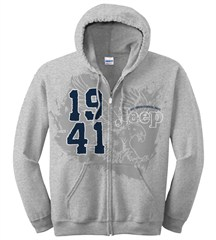 Jeep Zip-up Hoodie Sweatshirt, 1941 Logo, Ash Grey