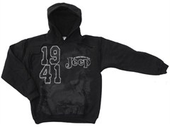 Black Hoodie Jeep Sweatshirt, 1941 Just enough essential parts JEEP