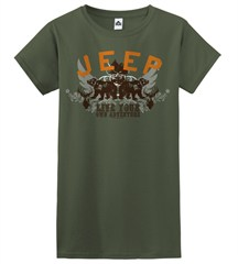 Live Your Own Adventure JEEP Women's T-Shirt, Olive