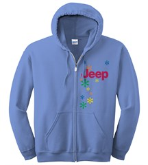 Women's Jeep Zippered Hoodie Sweatshirt - Daisies on Blue Fleece