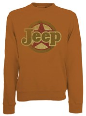 CLOSEOUT (Medium only) - Classic Jeep Star Crewneck Sweatshirt, Texas Orange