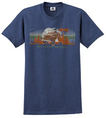 "CLOSEOUT - Jeep ""Off the Beaten Path"" Men's Heathered Blue Tee"