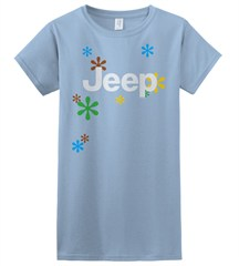 Jeep Retro Daisies Women's Tee (Blue/Junior Sized)